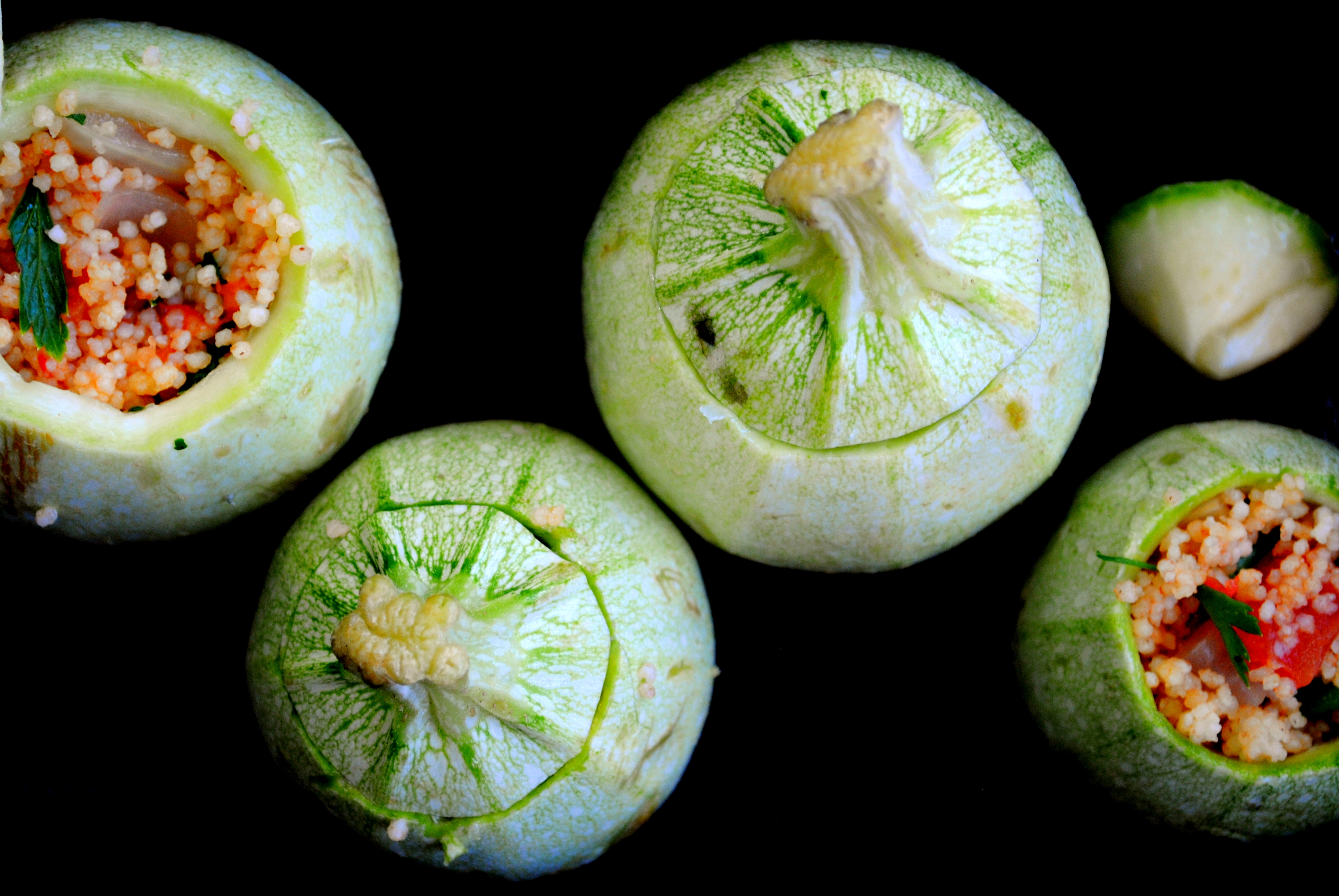round zucchini stuffed with couscous. Black Bedroom Furniture Sets. Home Design Ideas