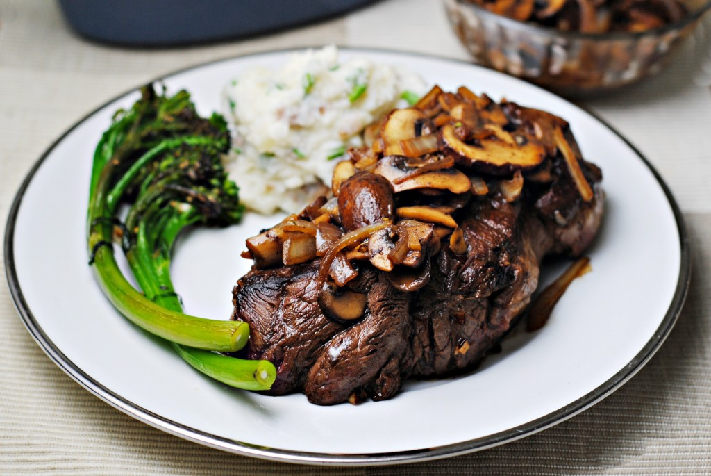 Steak with Mushrooms and Onions