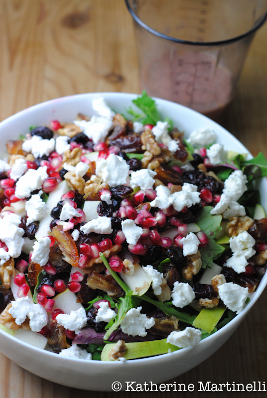 Pear, Date, Pomegranate, and Goat Cheese Salad with Pomegranate Vinaigrette