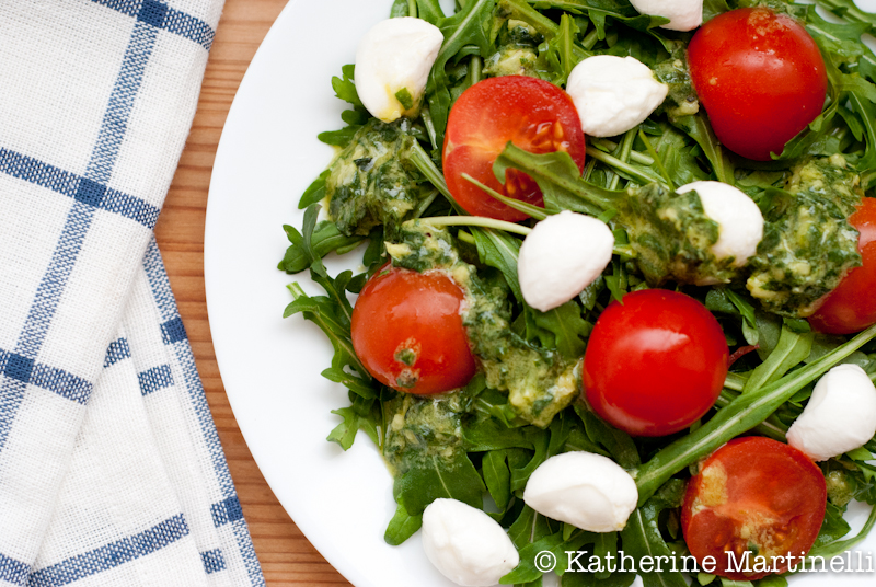 Arugula Salad with Basil Vinaigrette
