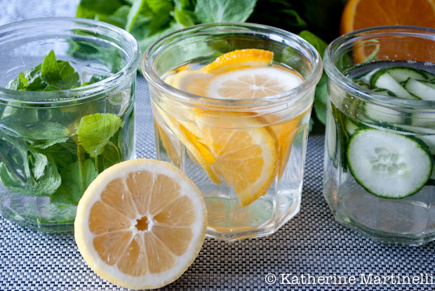Cucumber, Mint, and Citrus Flavored Water ~ KatherineMartinelli.com