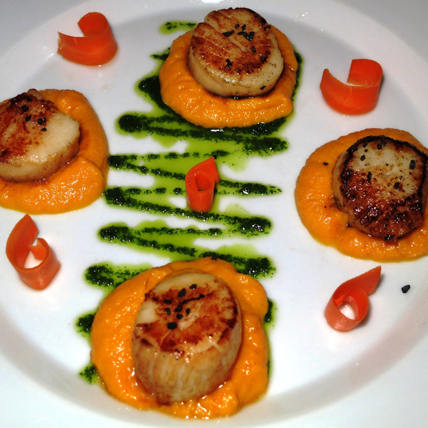 Seared Scallops with Carrot and Pesto from Shut Up and Cook