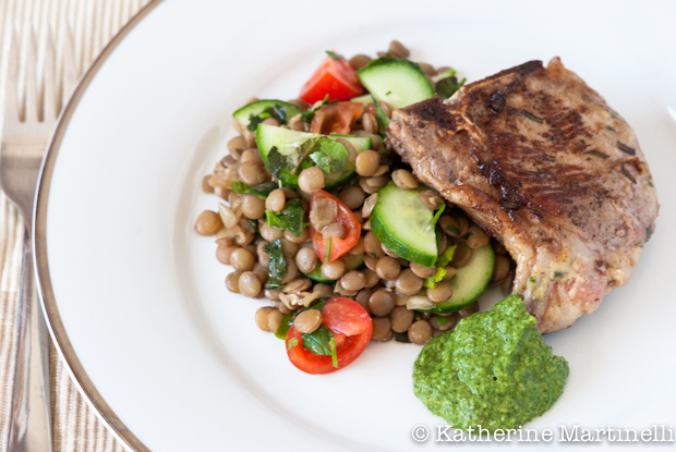 Easter Lamb Chops with Mint Gremolata and Lentil Salad