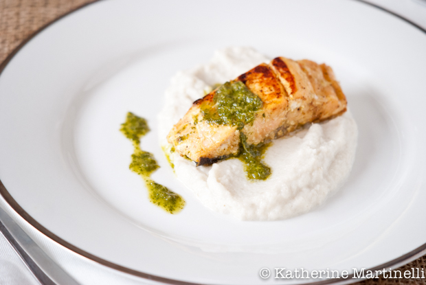 Salmon with Jerusalem Artichoke Puree and Herb Sauce